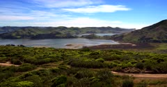 Aerial shot of the beautiful Otago Peninsular at low tide