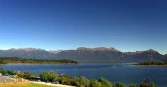 Aerial shot of Lake Te Anau and the surrounding mountain