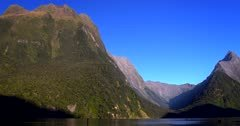 Towering mountains at Milford Sound