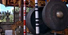 Close up shot of Huge ceremonial Gong instruments, at a Temple in Bali.