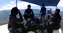 Wide shot of Scientists on the boat discussing, planning  the placing of an Acoustic Beacon.