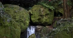 A wide tilt shot from the waterfall, to the Huge moss covered boulders and a historic piece of building,Ancient ruins, that has collapsed into the water with sacred offerings placed on it.