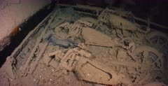 Truck remains carrying motorbikes inside the Thistlegorm Shipwreck.