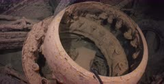 The remains of Aircraft engine parts inside the Thistlegorm Shipwreck.