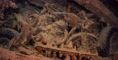 The remains of rifles and motor bikes, in the hold of the Thistlegorm Shipwreck.