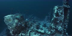 A wide shot of the Aida Shipwreck at Big Brothers.
