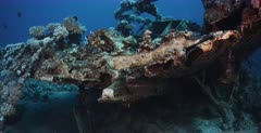 A close up shot of the rudder of the Heaven One, Liveaboard shipwreck