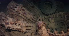 A Close up shot over rifles and tyres on the Thistlegorm Shipwreck.