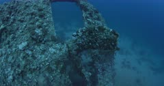 A wide shot of the propeller of the Dunraven shipwreck.