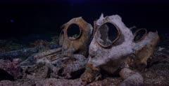 Close up shot of Gas masks on the Unkai Maru no 6 Shipwreck