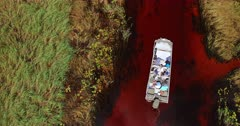 Aerial shot of Tourists on a boat on the Okavango Delta