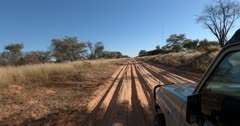A tracking shot of a safari vehicle driving on rough dirt roads.