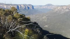 a view down into the grose valley in the blue mountains, australia