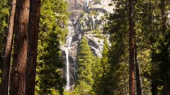 the lower falls section of yosemite falls at yosemite national park in california.