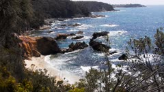 waves break on a secluded beach at Bermagui, New South Wales, Australasia, new south wales australia