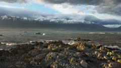 a view of the kaikoura seaward ranges from kaikoura in new zealand