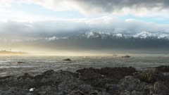 a view of the kaikoura seaward ranges and the coastline from kaikoura in new zealand