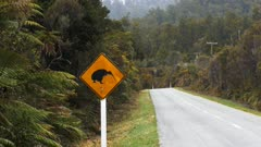 panning shot of a kiwi road sign on the south island of new zealand
