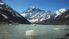 a shot of mt cook and the glacial hooker lake with icebergs