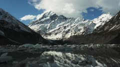 mt cook and the glacial hooker lake with icebergs