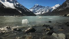 a shot of mt cook and the shoreline of the glacial hooker lake