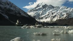 a slider shot of mt cook and the glacial hooker lake with icebergs
