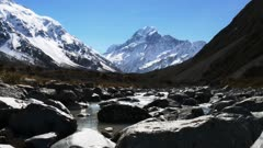 a slider shot of mt cook and the hooker river