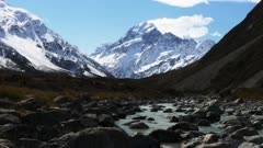 a shot of mt cook and the hooker river in new zealand