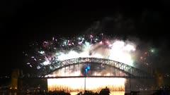 fire works on the sydney harbour bridge on new years eve 2014- filmed in 4K