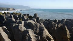 zoom in on rock formations at punakaiki pancake rocks on new zealand's west coast