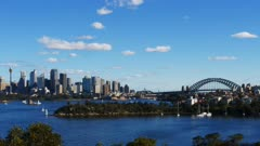 a time lapse of sydney harbour looking west from taronga zoo