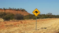 a zoom in shot of a kangaroo road sign in the northern territory of australia