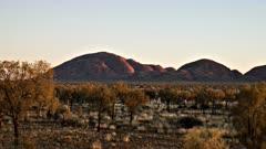 time lapse of kata tjuta in australia's northern territory at sunrise