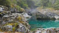 a tracking shot of a beautiful gorge on the crystal clear caples river in new zealand,
