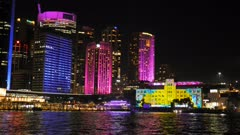 the sydney museum of contemporary art brightly lit up during the vivid festival 2015