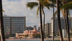 waikiki beach and the royal hawaiian hotel on the island of oahu, hawaii