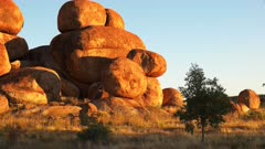 a morning view of the devil's marbles in australia's northern territory