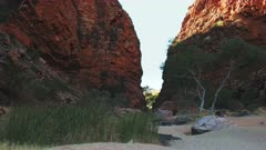 panning shot of simpsons gap in the west macdonnell ranges near alice springs