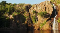 panning shot of wangi waterfalls in litchfield national park near kakadu