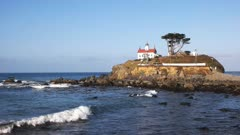 wide view of the lighthouse at crescent city along the northern california coast