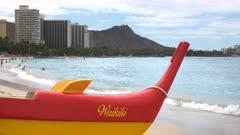 close up of an outrigger canoe at waikiki beach, hawaii