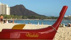 the front of an outrigger canoe at waikiki beach, hawaii