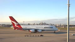 a qantas airbus A380 leaving for takeoff in sydney, australia