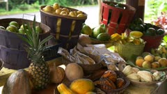 close up of fresh tropical fruit for sale at a roadside stand on the road to hana, maui