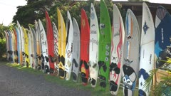 old windsurfing boards at the town of paia on the hawaiian island of maui