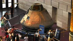a  high angle view of the apollo 11 command module columbia in the national air and space museum