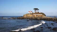 wide angle view of the lighthouse at crescent city along the northern california coast