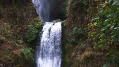 close up of the lower step at multnomah falls in portland oregon