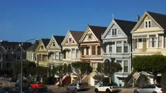 the row of victorian era houses, refered to as the painted ladies, in san francisco, california
