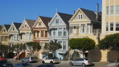 a right to left pan of the painted ladies houses in san francisco, california